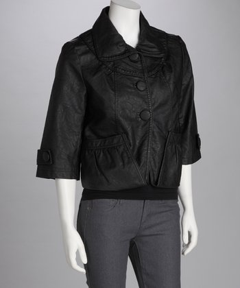 Black Faux Leather Button-Up Jacket