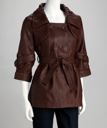 Wine Belted Three-Quarter Sleeve Jacket