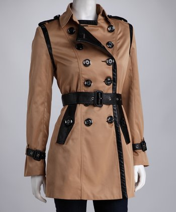 Camel & Black Double-Breasted Button Trench Coat