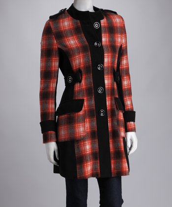 Orange & Black Plaid Coat