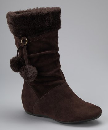 Brown Bobbie Pom-Pom Boot
