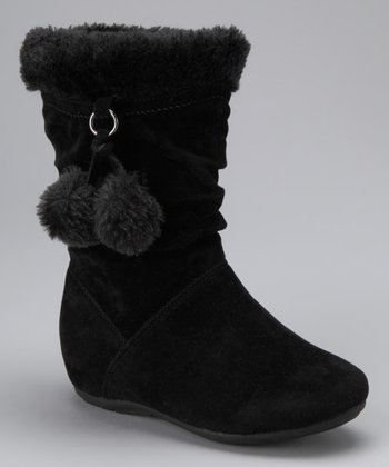 Black Bobbie Zip-Up Pom-Pom Boot