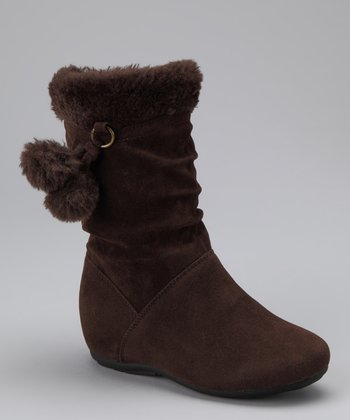 Brown Zip-Up Pom-Pom Bobbie Boot