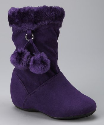 Purple Zip-Up Pom-Pom Bobbie Boot