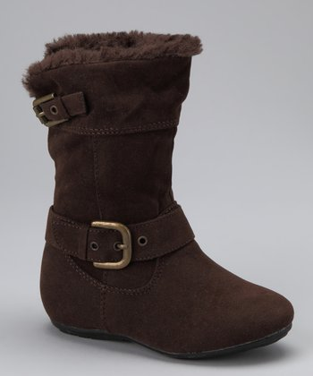 PINKY FOOTWEAR Brown Bobbie Zip-Up Double Buckle Boot