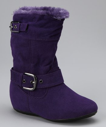 Purple Bobbie Zip-Up Double Buckle Boot