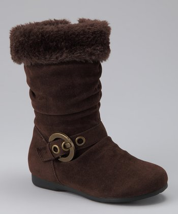 Brown Faux Fur-Cuff Thalia Boot
