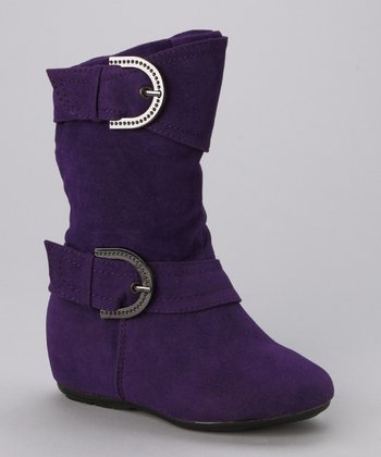Purple Thalia Double Buckle Boot