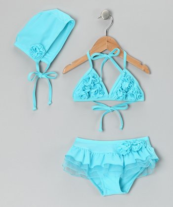 Aqua Rosette Skirted Bikini & Bonnet - Toddler & Girls