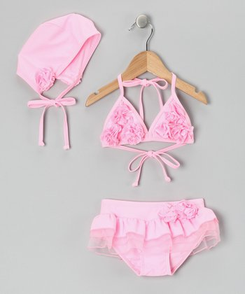 Pink Rosette Skirted Bikini & Bonnet - Toddler & Girls