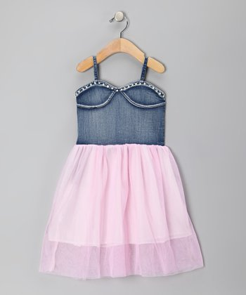 Pink & Denim Princess Dress - Toddler