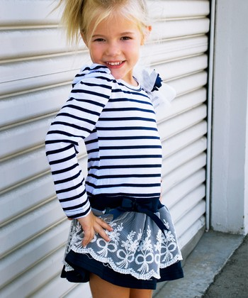 Navy Stripe Lace Dress - Toddler & Girls