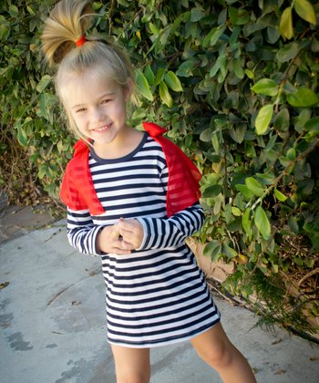 Navy Stripe Batwing Dress - Toddler & Girls
