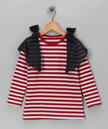 Red Stripe Batwing Dress - Toddler & Girls