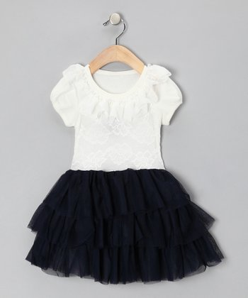 Navy & White Leah Dress - Toddler