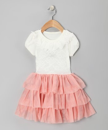Pink & White Ruffle Leah Dress - Toddler & Girls