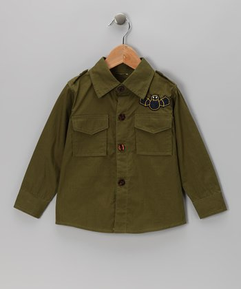Green Twill Button-Up - Toddler & Boys
