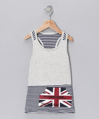 Gray Union Jack Dress - Toddler