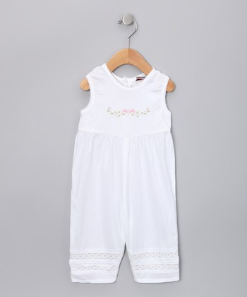 White Floral Playsuit - Infant