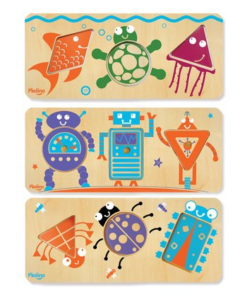 P'kolino Beginner Shapes: Sea Life & Robot Puzzle Set