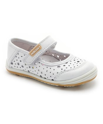 Pablosky White Perforated Mary Jane - Toddler