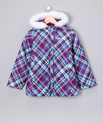 Purple & Aqua Plaid Jacket - Toddler