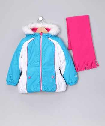 Blue Jacket & Pink Scarf - Toddler