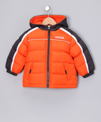 Orange & Charcoal Puffer Coat - Infant