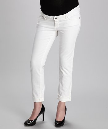 White Skinny Boyfriend-Fit Maternity Jeans