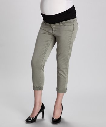Serengeti Green Venice Maternity Cropped Jeans