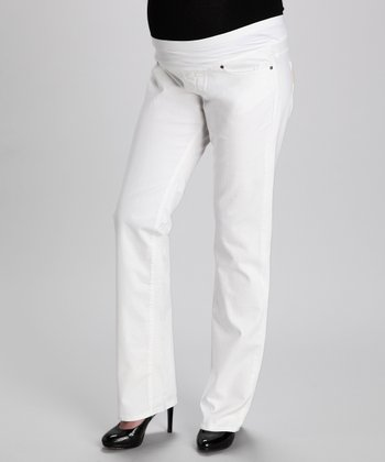 Paige Optic White Melrose Maternity Straight-Leg Jeans