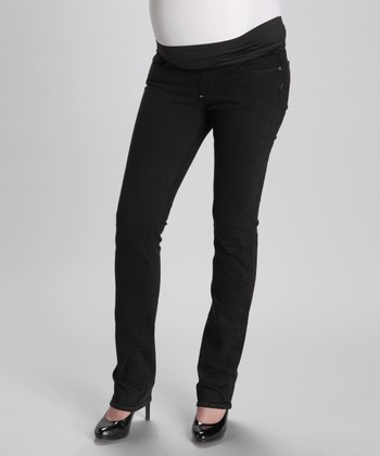 Black Overdye Blue Heights Straight Leg Maternity Jeans