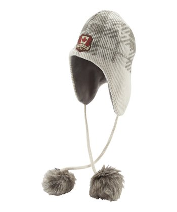 Off White Plaid Wool-Blend Earflap Beanie