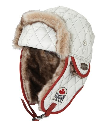 White Quilted Trapper Hat