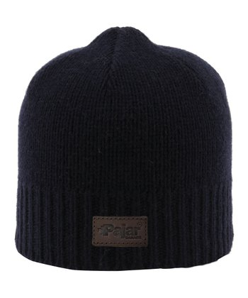 Navy Ribbed Wool-Blend Beanie