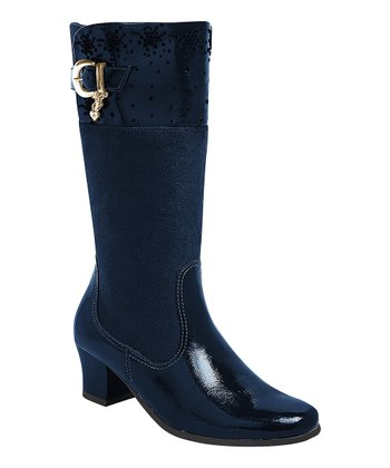 Pampili Navy Buckle Boot