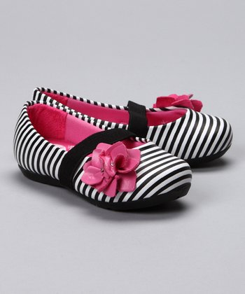 Pampili Black Stripe Flower Flat