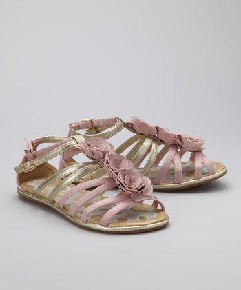 Pampili Pink & Gold Rosette Sandal