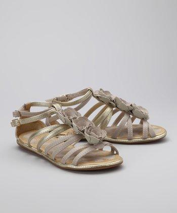 Pampili Brown & Gold Rosette Sandal