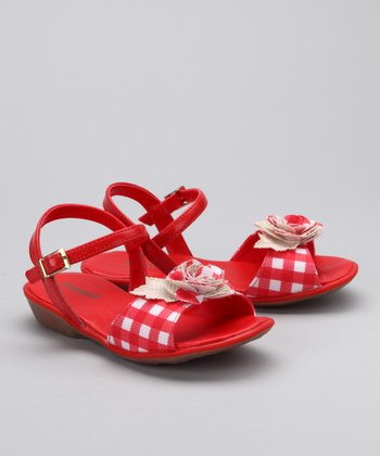 Red & White Gingham Rose Sandal