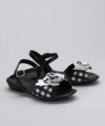 Black & White Gingham Rose Sandal