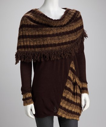 Brown Stripe Scarf Top