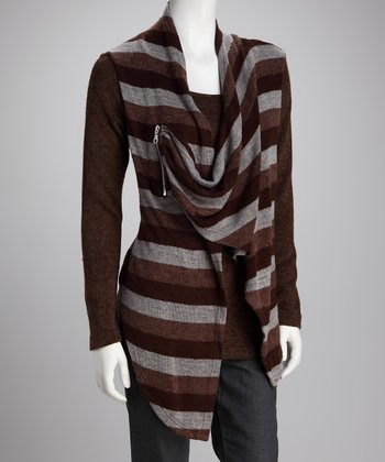 Brown Stripe Knit Layered Top