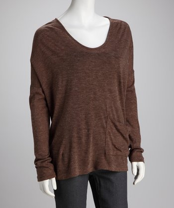Mocha Lace-Up Back Knit Top