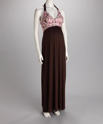Brown & Pink Halter Maternity Maxi Dress