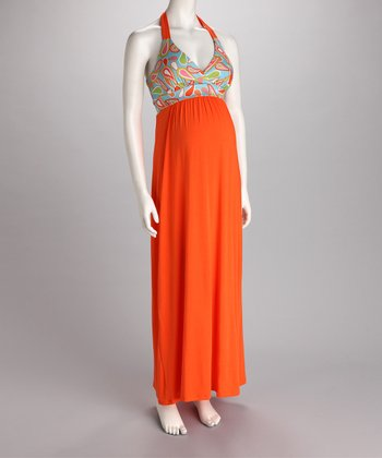 Orange & Blue Halter Maternity Maxi Dress