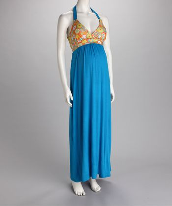 Turquoise & Yellow Halter Maternity Maxi Dress