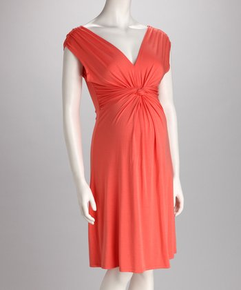 Orange Knotted Maternity Dress