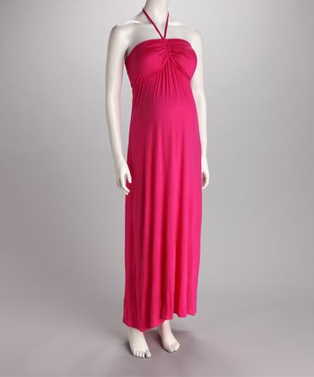 Fuchsia Ruched Halter Maternity Maxi Dress