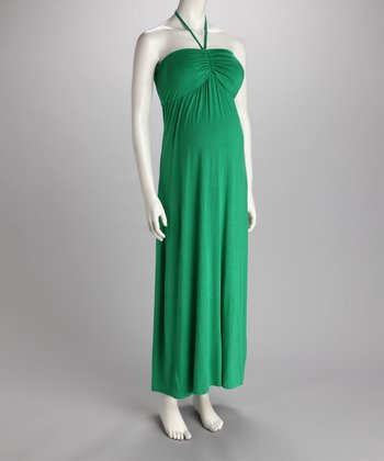 Green Ruched Halter Maternity Maxi Dress